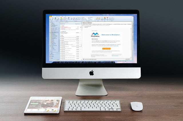 Email marketing (image: iMac with email screen)