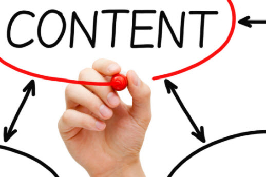 """synchronized channel marketing (image: hand drawing a red line and pathways with the word """"content"""" at the top)"""