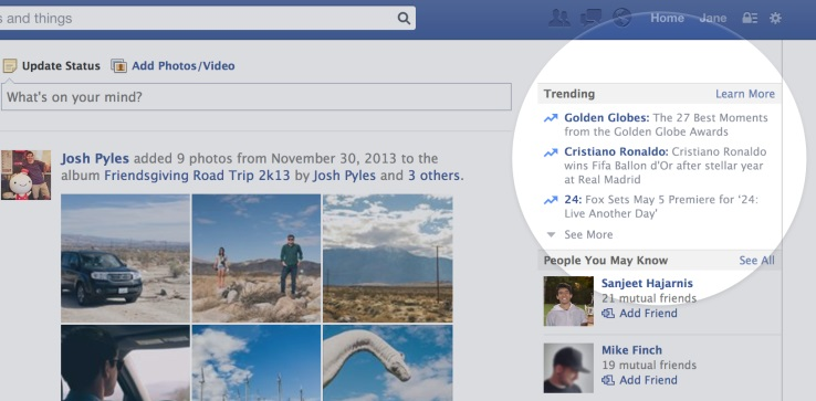 Facebook Hashtags (Screenshot: spotlight on trending hashtags)